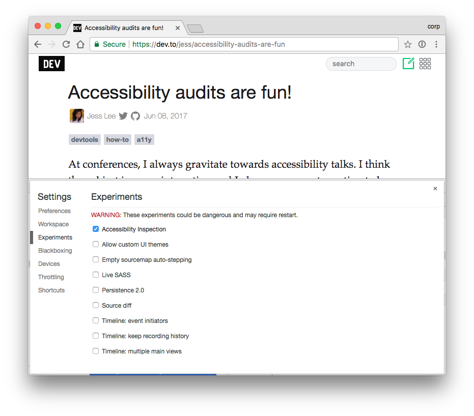 Chrome Dev tools Accessibility inspector showing a button that isn't a button